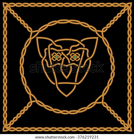 Celtic patterns or Arabic style in the form of a square gold-rich framework and in terms of the inside of the frame. Circle to bridge the frame patterns. In Centre round muzzle of a lioness  - stock vector