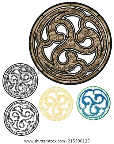 Celtic sigil in worked bronze, with variations - stock vector