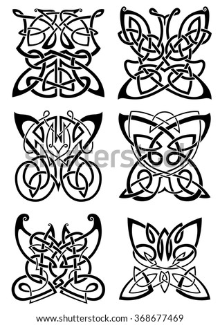 Celtic tattoos of graceful black butterflies with ornamental wings, composed from traditional scandinavian knot patterns. Isolated background - stock vector