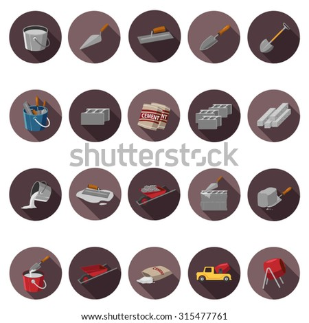 Cement icons set in flat design with long shadow. Illustration EPS10 - stock vector