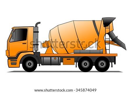 Cement mixer truck - stock vector