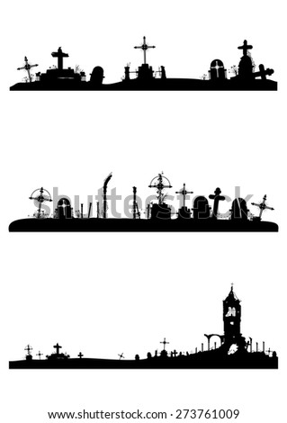 Cemetery ruins. Objects in black on a white background .Vector without gradients. - stock vector