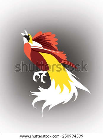 Cendrawasih, natural beautifully colored Bird of Paradise, exotic plumage - stock vector