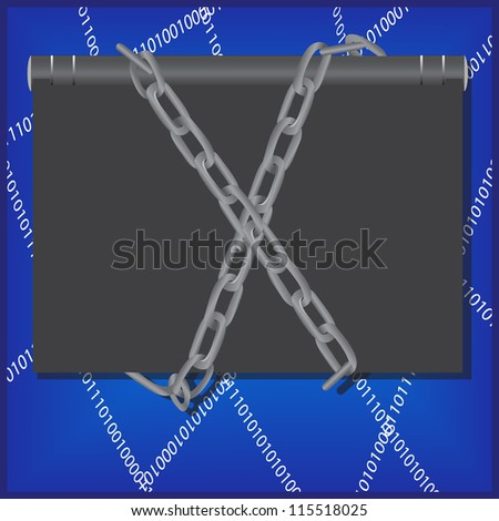 Censorship concept with notebook, chain and web. Vector Illustration - stock vector