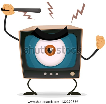 Censorship, Terror And Brainwash On TV/ Illustration of a cartoon angry retro tv character with big brother eye watching and holding nightstick to hit your brain - stock vector