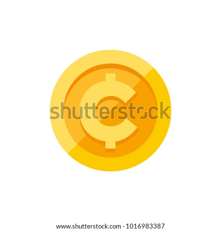 Cent Centavo Currency Symbol On Gold Stock Vector 1016983387