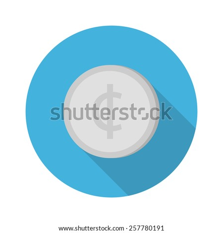 cent coin flat icon. vector illustration - stock vector
