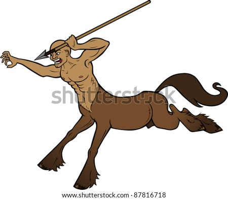 Centaur chasing someone with a spear - stock vector