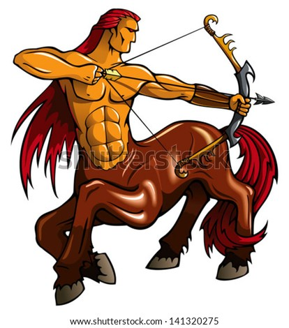 Centaur, fantasy creature, with bent bow, vector illustration - stock vector