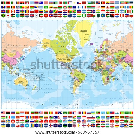 Centered america political world map all stock vector 589957367 centered america political world map and all world country flags bathymetry highly detailed vector gumiabroncs Images
