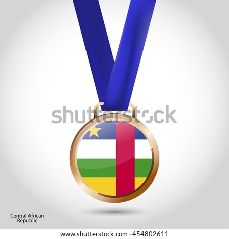 Central African Republic Flag in Bronze Medal. Olympic Game Bronze Medal. Vector Illustration - stock vector