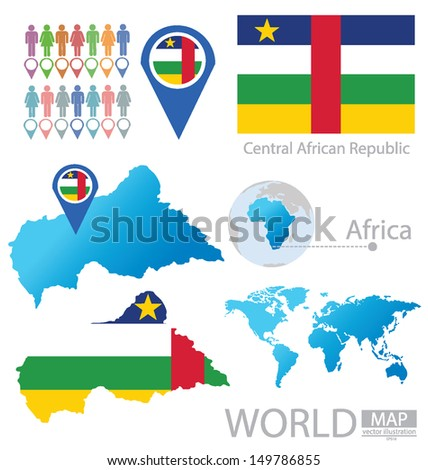 Central African Republic. flag. World Map. vector Illustration.