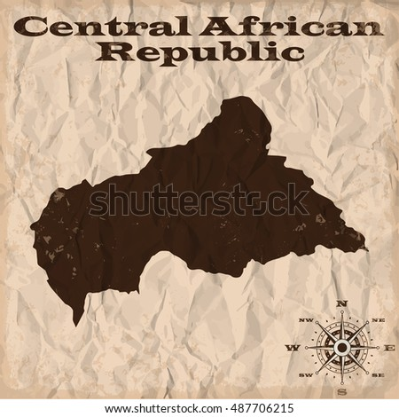 Central African Republic old map with grunge and crumpled paper. Vector illustration