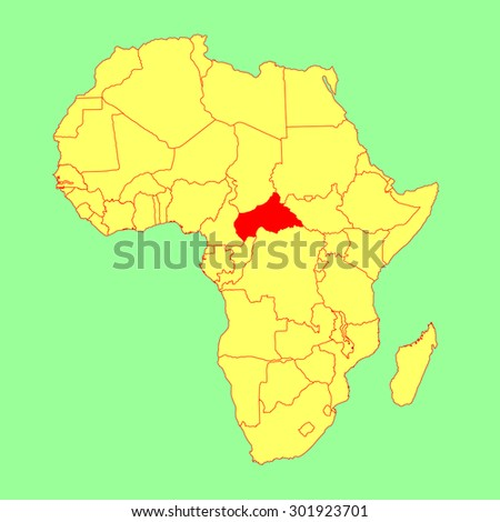 Central African Republic vector map isolated on Africa map. Editable vector map of Africa - stock vector