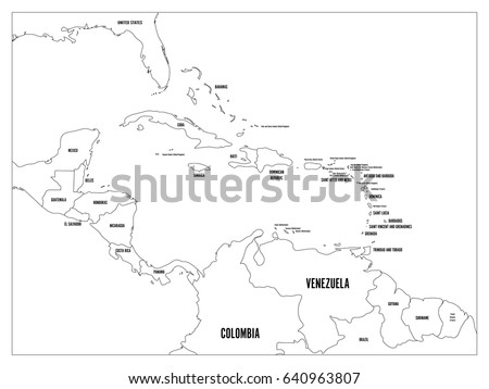 Central America And Carribean States Political Map. Black Outline Borders  With Black Country Names Labels
