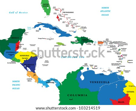 Central America and the Caribbean map - stock vector
