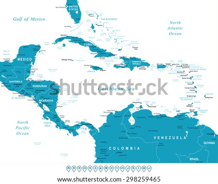Central America map - highly detailed vector illustration - stock vector