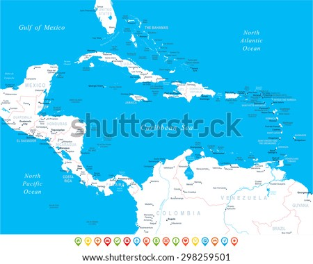 Central America - map, navigation icons - illustration  - stock vector
