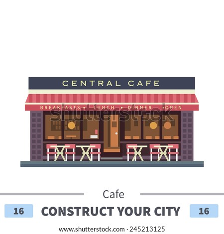 Central cafe building. Summer terrace. Set of elements for construction of urban and village landscapes. Vector flat illustration - stock vector