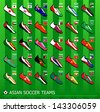 Central, South, East and West Asia soccer team shoes - stock photo