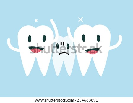 Centre tooth unhappy with small space. orthodontic treatment concept.flat character design. vector illustration - stock vector
