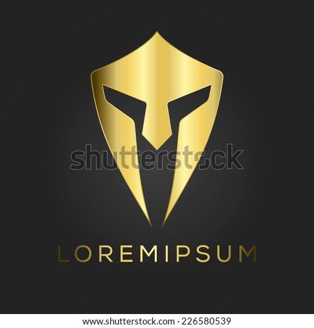 Centurion warrior helmet logo design element. Security visual identity. - stock vector
