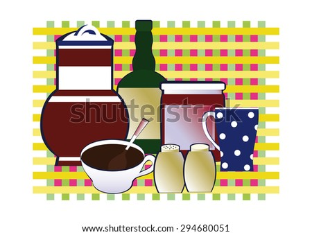 Ceramic pot, a bottle of wine, a jar of jam, mug, salt, pepper, a cup of coffee on the background of napkins in the box.