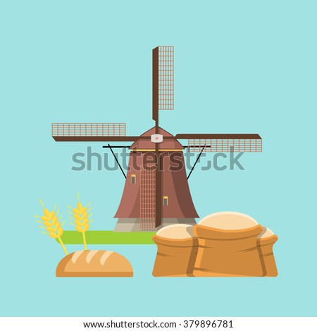 Cereal whole grain agriculture bakery concept. From spica to bread loaf. Flat style web site vector illustration objects collection. - stock vector