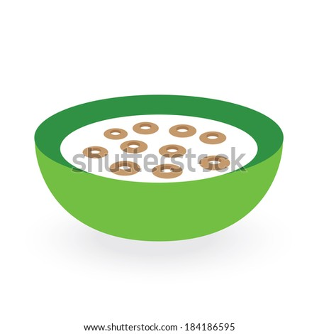 cereals bowl milk isolated on white background - stock vector