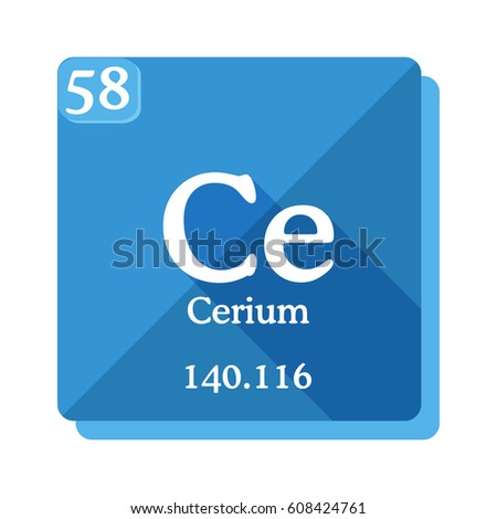 Cerium ce element periodic table vector stock vector 608424761 cerium ce element of the periodic table vector illustration in flat style urtaz Image collections