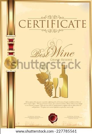 Certificate - Best Wine - stock vector