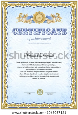 Certificate Blank Template Line Tangier Element Stock Vector ...