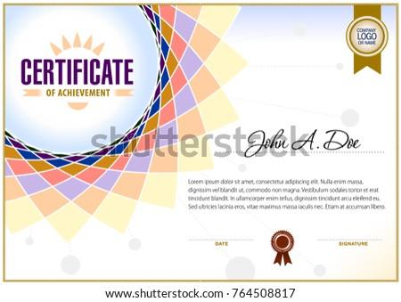 Certificate Blank Template Simple Polygonal Design Stock Vector