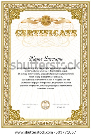 Certificate Blank Template Hard Vintage Frame Stock Vector 583771057