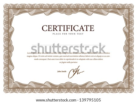 Certificate blank. Vector pattern that is used in currency and diplomas - stock vector