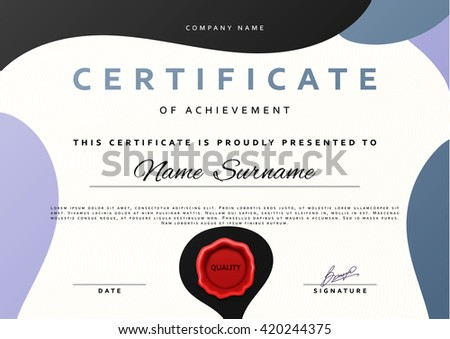 Certificate design.  Certificate border.  Certificate frame. Certificate and diploma. Certificate of achievement. Premium present certificate. Guilloche certificate - stock vector