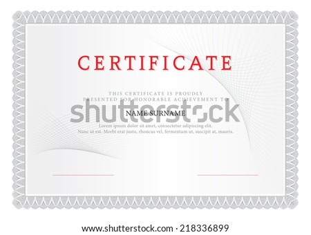 Certificate. Design Gray.  - stock vector