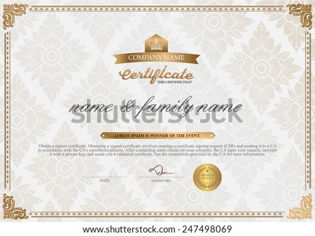 Certificate design stock images royalty free images vectors certificate design template yadclub Gallery