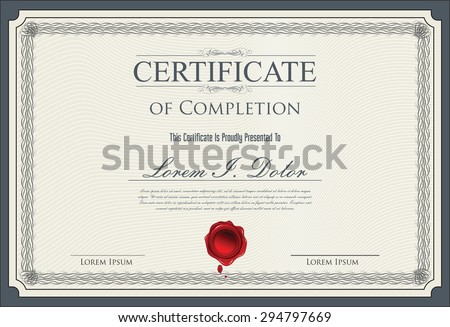 Certificate, Diploma of completion - stock vector