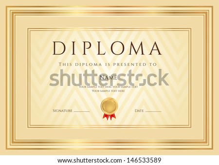Certificate, Diploma of completion (design template, background) with abstract pattern, gold border (frame), insignia. Useful for: Certificate of Achievement, Certificate of education, awards - stock vector