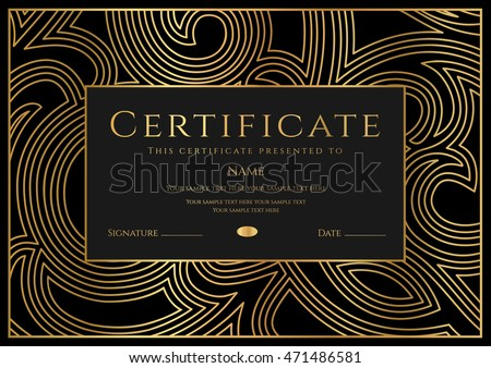 Certificate, Diploma of completion (design template, background) with gold floral pattern   border, frame. Black Certificate of Achievement / education