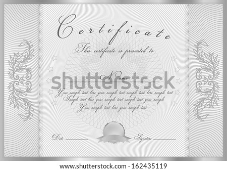 Certificate, Diploma of completion (design template, background) with guilloche pattern (watermark), scroll border, frame. Silver Certificate of Achievement, coupon, award, winner - stock vector