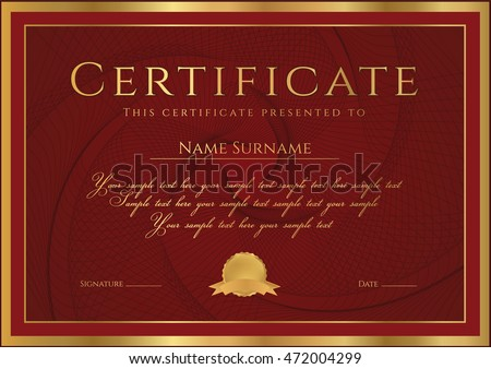 Certificate, Diploma of completion (design template, background) with guilloche pattern (watermark), rosette, border, frame. Dark red Certificate of Achievement / education, coupon, award, winner