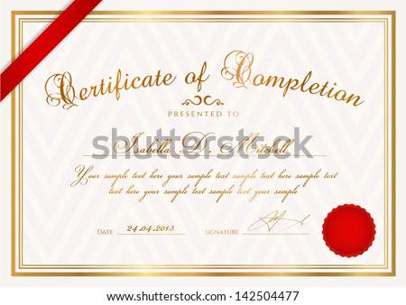 Certificate diploma completion design template sample stock vector certificate diploma of completion design template sample background with abstract pattern yadclub Image collections
