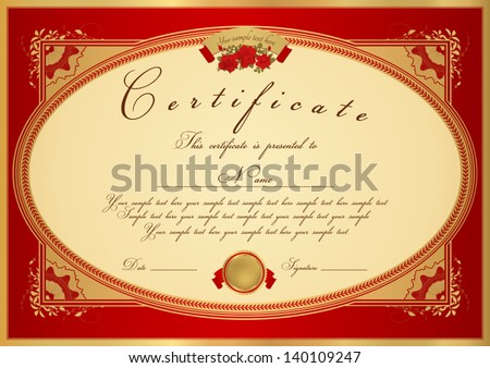 Certificate diploma completion design template sample stock vector certificate diploma of completion design template sample background with flower pattern yadclub Gallery