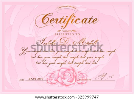 certificate diploma completion rose design template stock