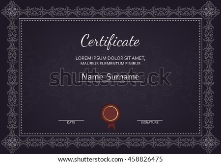 Certificate diploma completion silver design template stock vector certificate diploma of completion silver design template dark background with pattern yadclub Image collections