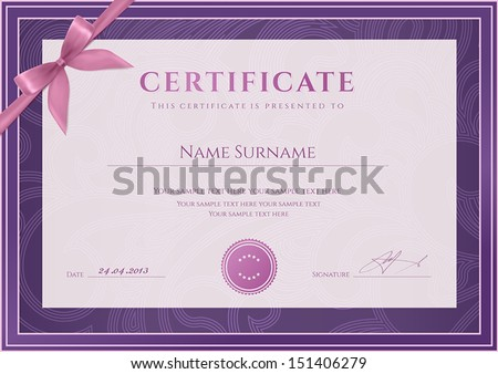 Certificate, Diploma of completion (template, background). Floral (scroll, swirl) pattern (watermark), border, frame, bow. For: Certificate of Achievement, Certificate of education, awards, winner - stock vector