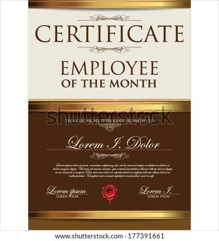Certificate template employee month stock vector 168090449 certificate employee of the month yadclub Image collections