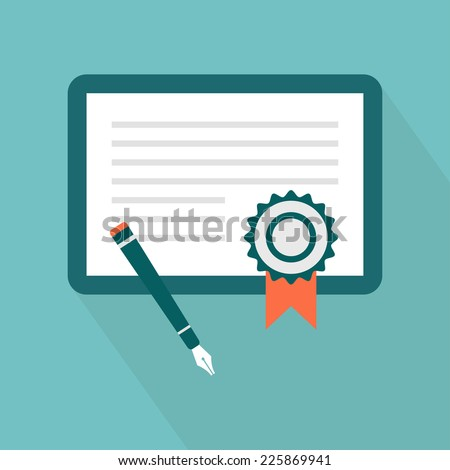 Certificate icon. Vector illustration Flat certification icon for ...: www.shutterstock.com/s/granted/search.html